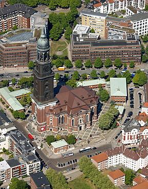 Aerial view, landmark main protestant church St. Michaelis Church or Michel, Hamburg, Germany, Europe