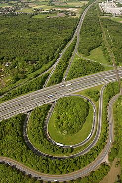 Aerial view, Bottrop motorway junction, A2 motorway and A32 motorway, Friesenspiess motorway, Bottrop, Ruhr area, North Rhine-Westphalia, Germany, Europe