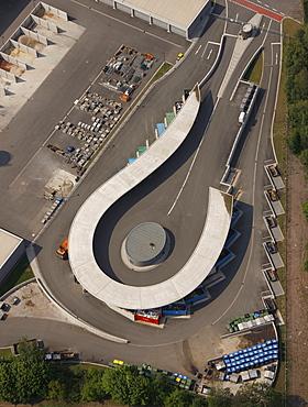 Aerial view, new municipal recycling center, Brasssertstrasse, Marl, Ruhrgebiet region, North Rhine-Westphalia, Germany, Europe