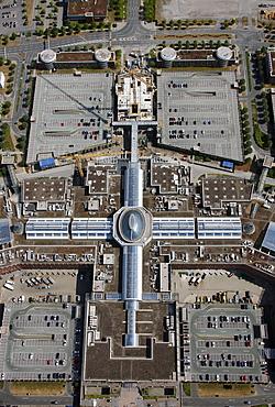 Aerial view, Neue Mitte shopping centre, Oberhausen, Ruhr area, North Rhine-Westphalia, Germany, Europe