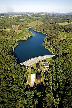 Aerial view, Ennepetal Dam, dam wall, Ennepetal, Bergisches Land, North Rhine-Westphalia, Germany, Europe
