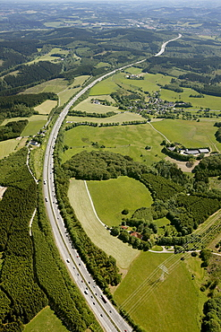 Aerial view, A45 motorway between Meinerzhagen and Luedenscheid, Autobahn Sauerlandlinie, Maerkischer Kreis district, Sauerland, North Rhine-Westphalia, Germany, Europe