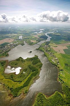 Aerial view, clouds over the Mueritz, Kleine Mueritz bay, Mecklenburg Lake District, Rechlin, Ludorf, Mueritz county, Mecklenburg-Western Pomerania, Germany, Europe