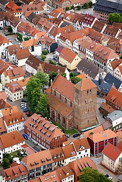 Aerial view, Georgenkirche church, Neuer Markt square, Waren, Mueritz county, Mecklenburg-Western Pomerania, Germany, Europe