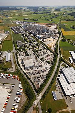 Aeria view, Egger Holzwerkstoffe Brilon GmbH & Co KG, wood industry company, Brilon, Sauerland region, North Rhine-Westphalia, Germany, Europe