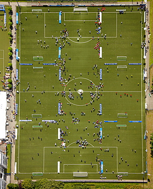 Aerial view, Schalke Arena, S04, football pitches, football tournament, Gelsenkirchen, Ruhr Area, North Rhine-Westphalia, Germany, Europe
