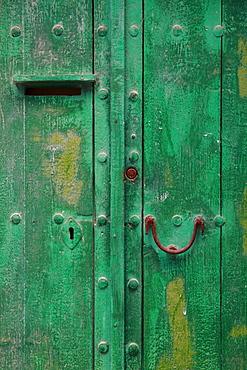 Battered door, Old Town of Ibiza, Dalt Vila, Ibiza, Spain, Europe