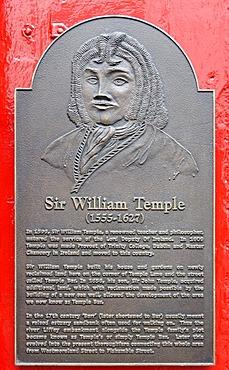 William Temple, 1555 - 1627, Irish ramist and provost, memorial plaque at the Temple Bar, Crown Alley, Dublin, Republic of Ireland, Europe, PublicGround