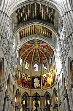 Interior view, cathedral Santa Maria la Real de La Almudena or Almudena Cathedral, Madrid, Spain, Europe
