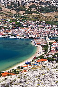View of Pag, Pag Island, Zadar, Dalmatia, Croatia, Europe