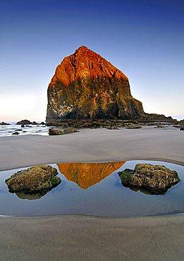 "Famous ""Haystack Rock"" monolith, solidified lava rock at Cannon Beach, tourist attraction, Clatsop County, Oregon, USA, North America"