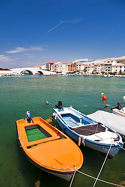 Boats tied to a jetty in the port of Pag, Pag Island, Zadar, Dalmatia, Croatia, Europe