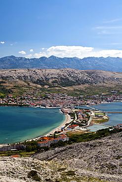 View over Pag, Pag Island, Zadar, Dalmatia, Croatia, Europe