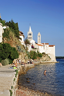 View of two of the four bell towers of the town of Rab, Rab island, Primorje-Gorski Kotar county, Croatia, Europe
