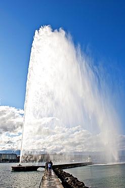 Fountain, Jet d'Eau, Lake Geneva, Lac Leman, Geneva, Geneve, Switzerland, Europe