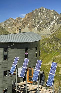 Solar collectors for autonomous energy supply to a mountain hut, Velan Hut, Cabane du Velan, of the Swiss Alpine Club, SAC, Valais Alps, Valais, Switzerland, Europe