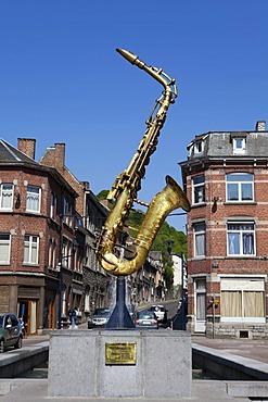 Saxophone as a memorial to its inventor Adolphe Sax, Dinant, Namur, Wallonia, Belgium, Europe