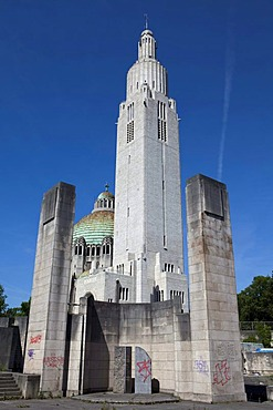 The Basilica of Sacre Coeur et Notre Dame de Lourdes and the Memorial Interallie memorial for the victims of the World Wars, Cointe, Liege, Wallonia or Walloon Region, Belgium, Europe