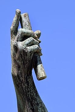 Emperor Julius Caesar, bronze statue, hand holding baton, Via dei Fori Imperiali, Rome, Lazio, Italy, Rome