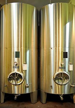 Modern wine barrels, Loisium World of Wine, Langenlois, Kamptal, Wachau, Lower Austria, Austria, Europe