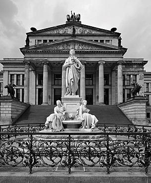 Black and white image, statue of Friedrich Schiller in front of the Konzerthaus concert hall, designed by Karl Friedrich Schinkel, Gendarmenmarkt square, Mitte district, Berlin, Germany, Europe, PublicGround