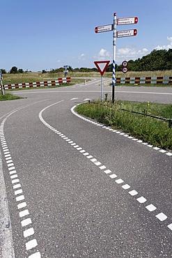 Bicycle crossing with sign, Walcheren, Zeeland, Netherlands, Europe