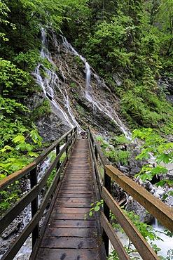 Bridge over the Martuljek gorge in Gozd-Martuljek, Slovenia, Europe