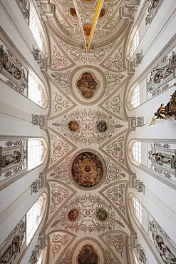 Ceiling of the parish church of the Assumption, Landsberg am Lech, Upper Bavaria, Bavaria, Germany, Europe