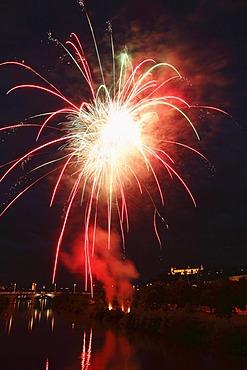 Fireworks, Kiliani-Volksfest festival, Wuerzburg, Lower Franconia, Franconia, Bavaria, Germany, Europe, PublicGround