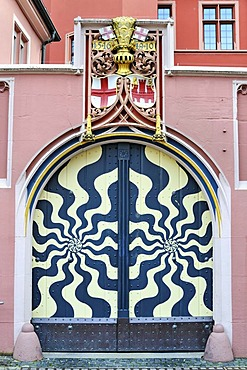 Gate to the court with the city seal and coat of arms, Haus zum Walfisch house, old town of Freiburg im Breisgau, Baden-Wuerttemberg, Germany, Europe