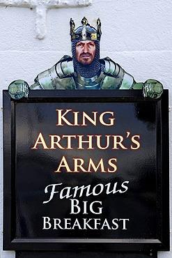Inn sign, King Arthur's Arms, Fore Street, Tintagel, Cornwall, England, United Kingdom, Europe