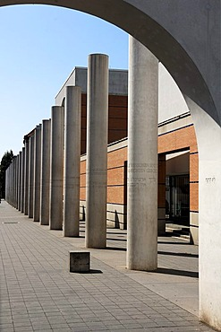 Way of Human Rights outdoor sculpture, 27 concrete columns with articles of the Universal Declaration of Human Rights of 1948 as inscriptions, Germanisches Nationalmuseum on the left, Kartaeusergasse street, Nuremberg, Middle Franconia, Bavaria, Germany,
