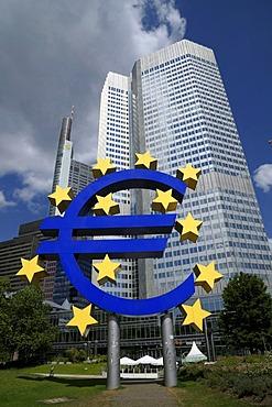 Euro sign, currency symbol, European Central Bank, ECB, Frankfurt am Main, Hesse, Germany, Europe