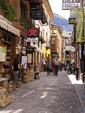 Street with souvenir shops in the mountain village of Fuente De, Picos de Europa National Park, Cantabria, northern Spain, Europe