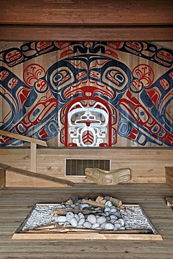 Wall painting with white grizzly and orca behind a fireplace, community center, First Nation village of the Gitga'ata people, Tsimshian, Hartley Bay, British Columbia, Canada, North America