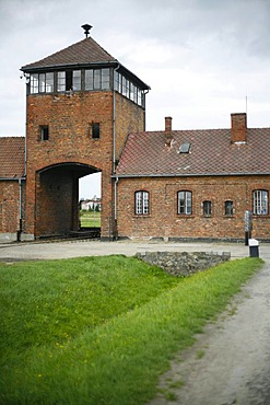 Entrance gate to the concentration camp, Auschwitz-Birkenau, Poland, Europe