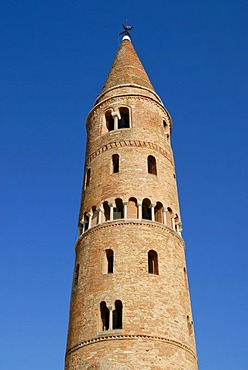 Round steeple, Romanesque belfry or bell tower, Catholic Cathedral of St. Stephen, Caorle, Venice Province, Veneto, Italy, Europe