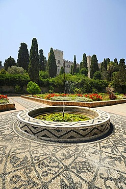Gardens with the Palace of the Grand Master at back, Rhodes Town, Rhodes, Greece, Europe