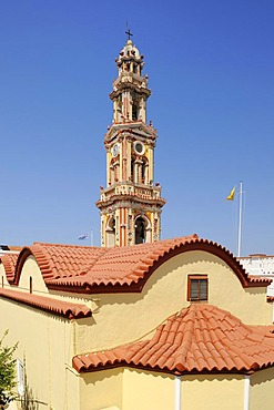 Tower, Monastery Taxiarchis Michael Panormitis, Symi island near Rhodes, Greece, Europe