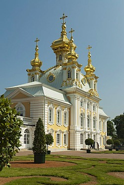 East Chapel, one of a pair flanking the central buildings of Peterhof Palace, St. Petersburg, Russia