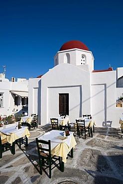 Restaurant terrace, Mykonos Town or Chora, Mykonos, Cyclades, Greece, Europe