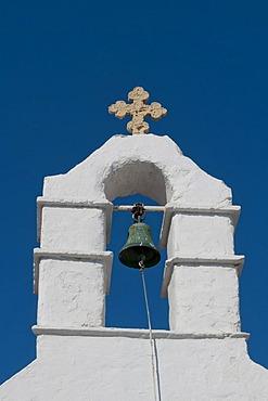 Belltower, Orthodox church, Mykonos Town or Chora, Mykonos, Cyclades, Greece, Europe