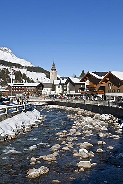 Shops and hotels in the town center, Lech River, Lech am Arlberg, Vorarlberg, Austria, Europe