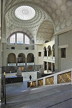 Entrance hall with staircase and skylight, Ludwig-Maximilians-Universitaet university or LMU, Munich, Bavaria, Germany, Europe