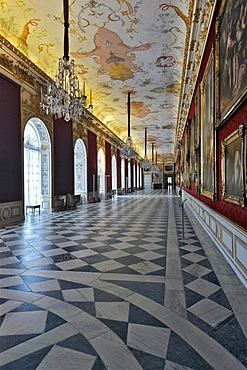 Great Gallery on the first floor, Neues Schloss Schleissheim Palace, Oberschleissheim near Munich, Upper Bavaria, Bavaria, Germany, Europe