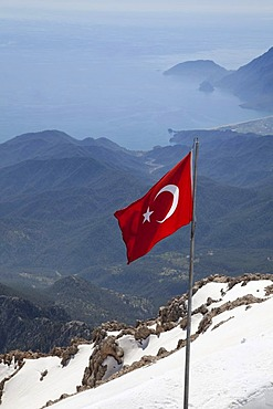 The Turkish Riviera seen from snow-covered Tahtali mountain, Turkey