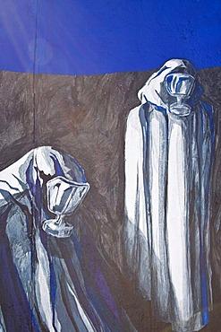 Painting, mural, completely veiled people wearing breathing masks or gas masks, Berlin Wall, East Side Gallery, Berlin, Germany, Europe