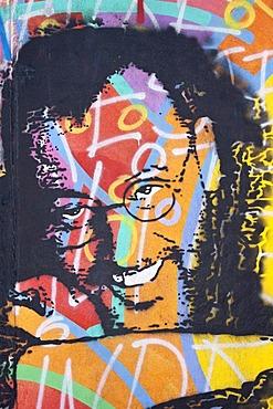 Actor Jean Reno, painting, mural, Berlin Wall, East Side Gallery, Berlin, Germany, Europe