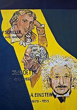Schiller, Goethe and Einstein, painting, mural, Berlin Wall, East Side Gallery, Berlin, Germany, Europe