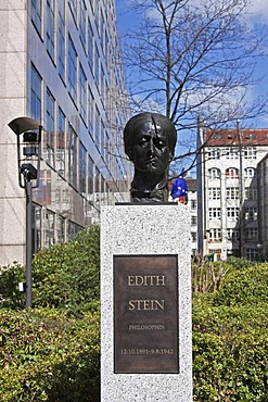 Monument, bust, Edith Stein, philosopher, Strasse der Erinnerung road of remembrance in front of the Federal Ministry of the Interior, Berlin, Germany, Europe